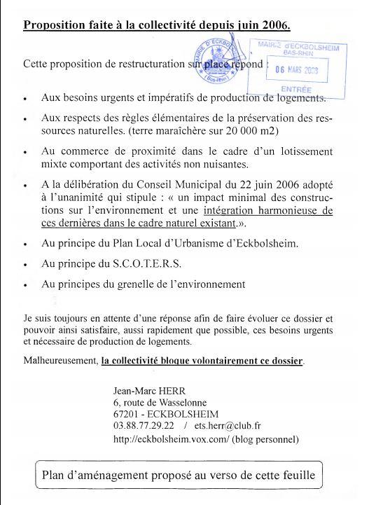 Proposition de restructuration refusée par André LOBSTEIN